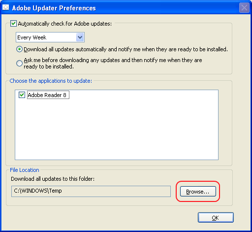 Adobe Updater Preferences Window