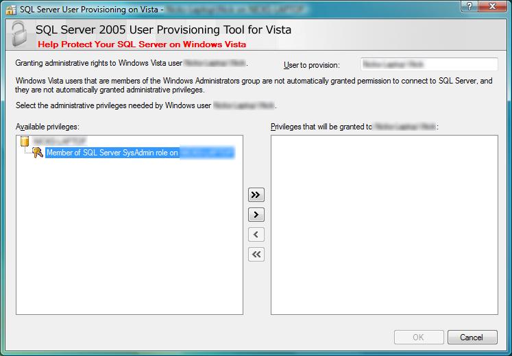 SQL Server 2005 Vista User Provisioning