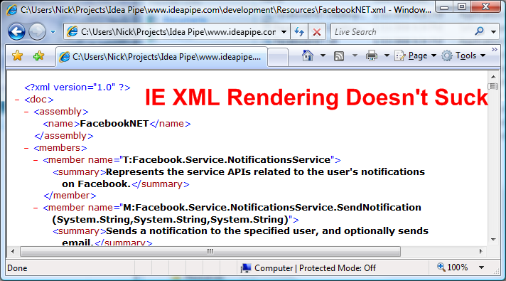 IE XML Rendering Doesn't Suck