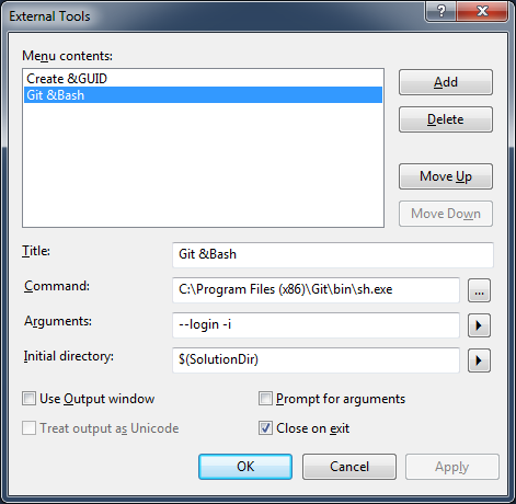 Adding Git Command Line To Visual Studio
